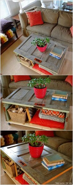I love the coffee table but where do you find a door that small?  10 Awesome Ideas to Reuse Old Doors and Giving Them a Second Life
