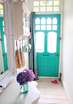 Love this door AND the color!! Makeover Reveal : Jade Green Front Door More  Entry