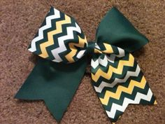 "Big 3"" Tic Toc Cheer Bow Forest Green Yellow Gold White Chevron Tick Tock Practice Cheerleading Hair Bow for Cheerleader Softball Dance"