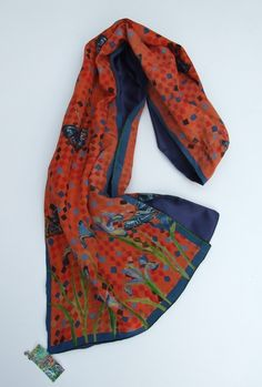 Purple Irises and butterfly scarf £65.00