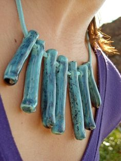 Teal Tribal Necklace Ceramic Jewelry by azulado on Etsy, $32.00