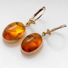 Estate Bezel Set Natural Amber Earrings 14k Gold 449 Jewelry Opal