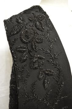 Black bead embroidery....very fashionable in the 1880s! Collection: Royal Pump Room/Harrogate Museums.