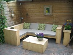 Odense scaffolding wood lounge set here executed in new scaffolding wood. Outdoor Couch, Diy Pallet Furniture, Outdoor Lounge Furniture, Reclaimed Furniture, Outdoor Living, Outdoor Decor, Garden Sofa, Garden Seating, Odense