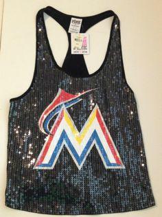 Victoria's Secret Pink MLB Miami Marlins Bling Tank Top Tee T Shirt Top S | eBay