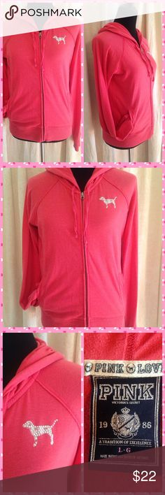 """Let Me Pink About It"" VS PINK HOODIE Cute and cozy Pink Victoria's Secret hoodie! Sparkly peace sign on the back and sparkly dog on front. A few of the sparklies have discolored, see last pic-yellow part of peace sign for example. PINK Victoria's Secret Jackets & Coats"