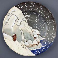 東京国立博物館の表慶館1階で開催されていた「陶器に写した北斎、広重」展より。