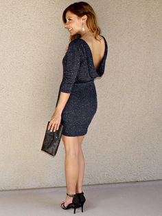 'Midnight in Paris' Bodycon Dress (Navy)