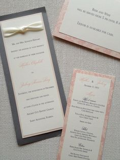 Pink and Grey Vintage Invitation with matching menu card. www.celebratedoccasionsjax.com