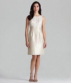 Tahari by ASL Shantung LaceBodice Dress #Dillards