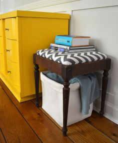 Grey Chevron Vanity Stool   Revived Vintage by dwellbeing on Etsy