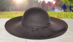 (Brown) Felt Wool Sun hat with Felt Fabric Bow
