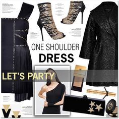 one shoulder dress by nanawidia on Polyvore featuring Mode, Versace, ASOS, Giambattista Valli, Carvela, Edie Parker, Yves Saint Laurent, Gucci and Victoria's Secret