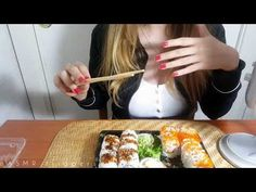 ASMR EAR EATIN SUSHI 🍣 😍-eating and mouth sounds, licking! - YouTube Asmr Video, How To Fall Asleep, Sushi, Relax, Youtube, Food, Meal, Eten, Meals