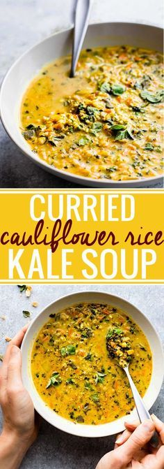 "This Curried Cauliflower Rice Kale Soup is one flavorful healthy soup. An easy paleo soup recipe for a nutritious meal-in-a-bowl. Roasted curried cauliflower ""rice"" with kale and even more veggies to fill your bowl! A delicious vegetarian soup to make aga Easy Soup Recipes, Whole Food Recipes, Cooking Recipes, Healthy Recipes, Free Recipes, Veggie Soup Recipes, Healthy Soups, Cauliflower Soup Recipes, Budget Cooking"