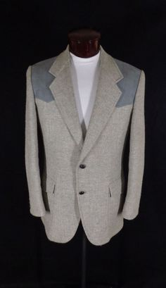 Vintage Pendleton Gray Tweed & Suede Leather Western Rockabilly Blazer – 42L #Pendleton #Doyoureallyneedone