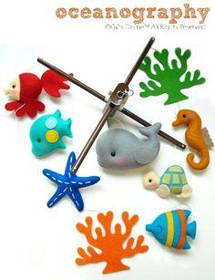 Musical Baby Mobile OCEANOGRAPHY Under the Sea (in Custom Color) - Custom Mobile for Crib Nursery Mobile, Modern Nautical, Ocean theme decor