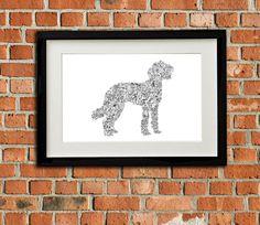 "Labradoodle - The story of the labrador poodle dog inside the silouhette - traits personnality - Hand signed - 8""x12"" or 12""x16"" - A4 - A3 de la boutique DrawInside sur Etsy"