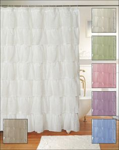 Shabby Crushed Voile Ruffled Shower Curtain - 3 Colors
