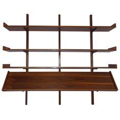 Rare Milo Baughman Wall Shelf with Magazine Rack