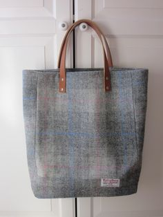 Large Grey Check Harris Tweed Tote Bag