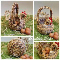 , Corn Husk Dolls, Newspaper Crafts, Paper Basket, Wicker Baskets, Weaving, Easter, Home Decor, Brochures, Recycling