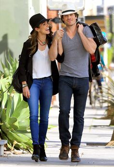 nikki-reed-ian-somerhalder-couple-street-style-casual