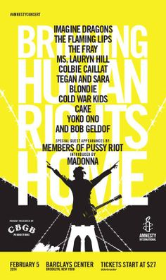 Madonna has confirmed that she will attend the Amnesty International Bringing Human Rights Home concert taking place on February 5th at the Barclays Center in Brooklyn. She will be introducing a special guest performance by members of Pussy Riot.