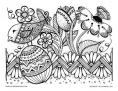 Easter Egg Flower Bird Coloring Page Mom Coloring Pages, Easter Egg Coloring Pages, Coloring Books, Easter Coloring Pictures, Easter Pictures, Nursing Home Crafts, 7th Grade Art, Easter Egg Pattern, Colorful Mountains