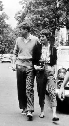"Before Camelot. Look how cool they look. ""street fashion"" ala  jack kennedy & jacqueline bouvier in 1951."