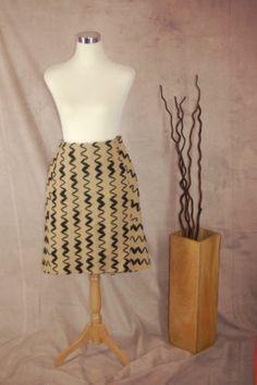William Reid Boiled Wool Skirt S A-line Art To Wear Zig Zag Tan Black