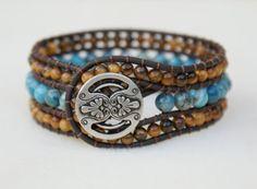 Tiger eye Boho leather wrap bracelet, leather cuff, Chan Luu Style, brown, blue, Agate
