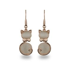 Take a look at this Amabel Designs Rose Goldtone & Cat's Eye Feline Drop Earrings today! Cat Jewelry, Animal Jewelry, Jewellery, Fine Jewelry, Gold Diamond Earrings, Drop Earrings, Pearl Earrings, Cat Accessories, Rose Gold Plates