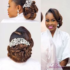Wow ! Beautiful bridal hair coloured, installed and styled by @_beautybyqueen ❤️ hairpiece: @aprilbykunbi | photos: @poshclick | #BellaNaijaWeddings
