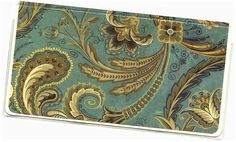 Checkbook Cover - AG Slate Blue Paisley Floral duplicate check book cover 2a by rabbitholeonline on Etsy