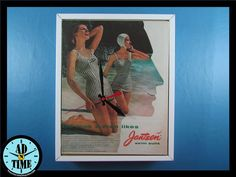 Items similar to Jantzen Swim Suits Clock, Vintage Mid Century Modern Advertisement, Handmade, Custom Order! on Etsy Retro Home Decor, Vintage Ads, Vintage Kitchen, Mid-century Modern, 1950s, Creativity, Mid Century, Clock, Swimsuits