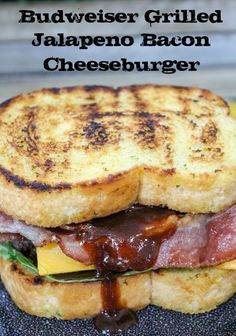 Learn how to make a Budweiser Grilled Jalapeno Bacon Cheeseburger that's big and juicy and topped with jalapeno peppers and bacon! No more boring burgers! Best Sandwich Recipes, Burger Recipes, Grilled Recipes, Sandwich Ideas, Game Recipes, Dog Recipes, Beef Recipes, Chicken Recipes, Vegan Recipes