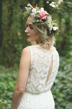 Berry toned floral crown with eucalyptus.