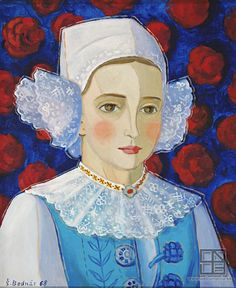 Štefan Bednár: A girl from Myjava / Dievča z Myjavy Folk Art, Illustration, Drawings, Painting, Woman Painting, Art, Folklore, Poster, Folk