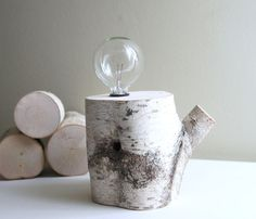 white birch forest lamp.