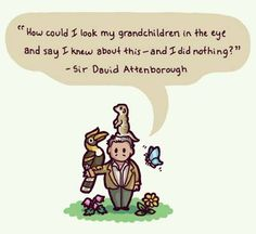 """""""How could I look my grandchildren in the eye and say I knew about this - and I did nothing?"""" Thought provoking quote from David Attenborough #climatechange"""