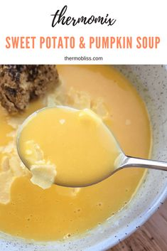 The easiest and healthiest Thermomix Sweet Potato & Pumpkin Soup recipe. Cheap Clean Eating, Clean Eating Snacks, Thermomix Soup, Pumpkin Sweet Potato Soup, Kneading Dough, Road Trip Snacks, Healthy Cooking, Healthy Food, Recipes