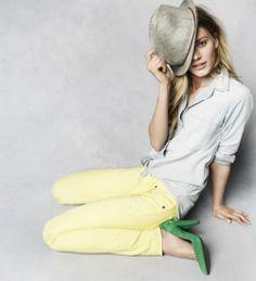 Chambray Ex-Boyfriend Shirt  Skinny Skinny Colorpop Jeans  Baltimore Fedora  The Film Noir Pump    Madewell