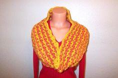 Crochet Scarf Cowl in Orange, Mango, Mustard by Vikni Crochet by VikniCrochet for $23.90