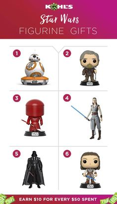 More than movies, Star Wars is a lifestyle for dedicated fans. Shop our toys and figures then earn Kohl's Cash too! Everybody wins when you get Star Wars gifts at Kohl's.