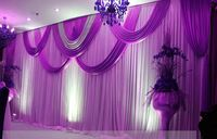 Purple wedding Backdrop Wholesale Sequins Stage Backdrop for Wedding Decoration 10ft*20ft Stage Backdrop with Detachable Swag