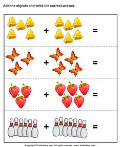 Addition worksheets for preschool and kindergarten, including adding using pictures or objects, single digit addition (horizontal and vertical), addition math facts, . Kindergarten Addition Worksheets, Addition And Subtraction Worksheets, Printable Preschool Worksheets, Preschool Math, Worksheets For Kids, Math Activities, Free Printable, Number Worksheets, Kindergarten Fun