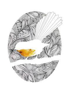 Piwakawaka (fantail) is an open edition of digital prints by Joe McMenamin that have been hand coloured with powdered dye to make each print unique #foundonfelt #aklfair #newzealandmade #pinandwin