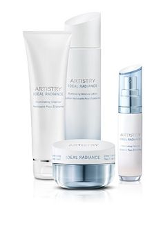 Artistry Ideal Radiance™ System With Illuminating Moisture Cream  Experience even skin tone in one week.  Expect revolutionary results from this breakthrough brightening system – no matter your skin tone or ethnicity. This four-step skincare regimen targets the deepest layers of the skin's surface to soothe, brighten, and protect while reducing visible dark spots and discolorations. For normal-to-dry skin. Six-week supply. Discover the entire Artistry Ideal Radiance™ Collection.