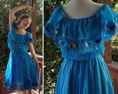 Spanish FIESTA 1970's 80's Vintage Blue Cotton by Jewels4pandas